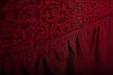 Чехол На Угловой Диван и 1 Кресло Жаккардовый С Оборкой, Новинка, Натяжной, Универсальный, Бордовый, Venera, фото 5