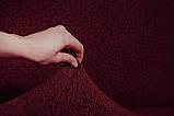 Чехол На Угловой Диван и 1 Кресло Жаккардовый С Оборкой, Новинка, Натяжной, Универсальный, Бордовый, Venera, фото 7