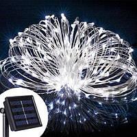 """Светодиодная гирлянда уличная 10 метров 100 LED на солнечной батарее """"холодный"""" свет"""