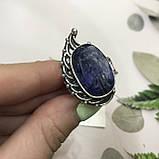 Сапфир кольцо 19,2 размер кольцо с камнем индийский натуральный сапфир в серебре кольцо с сапфиром., фото 9