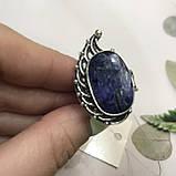 Сапфир кольцо 19,2 размер кольцо с камнем индийский натуральный сапфир в серебре кольцо с сапфиром., фото 3