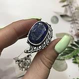 Сапфир кольцо 19,2 размер кольцо с камнем индийский натуральный сапфир в серебре кольцо с сапфиром., фото 4