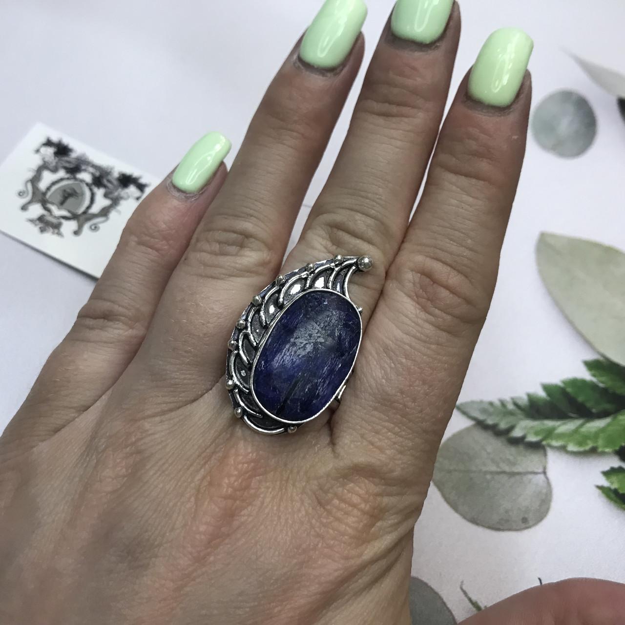 Сапфир кольцо 19,2 размер кольцо с камнем индийский натуральный сапфир в серебре кольцо с сапфиром.