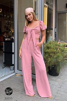 Нежные розовый костюм из кроп-топа с завязкой и брюк-палаццо с 42 по 46 размер