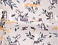 Сатин (бавовняна тканина) олені, лисички, зайчики на сірому (50*160), фото 2