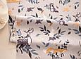 Сатин (бавовняна тканина) олені, лисички, зайчики на сірому (50*160), фото 3
