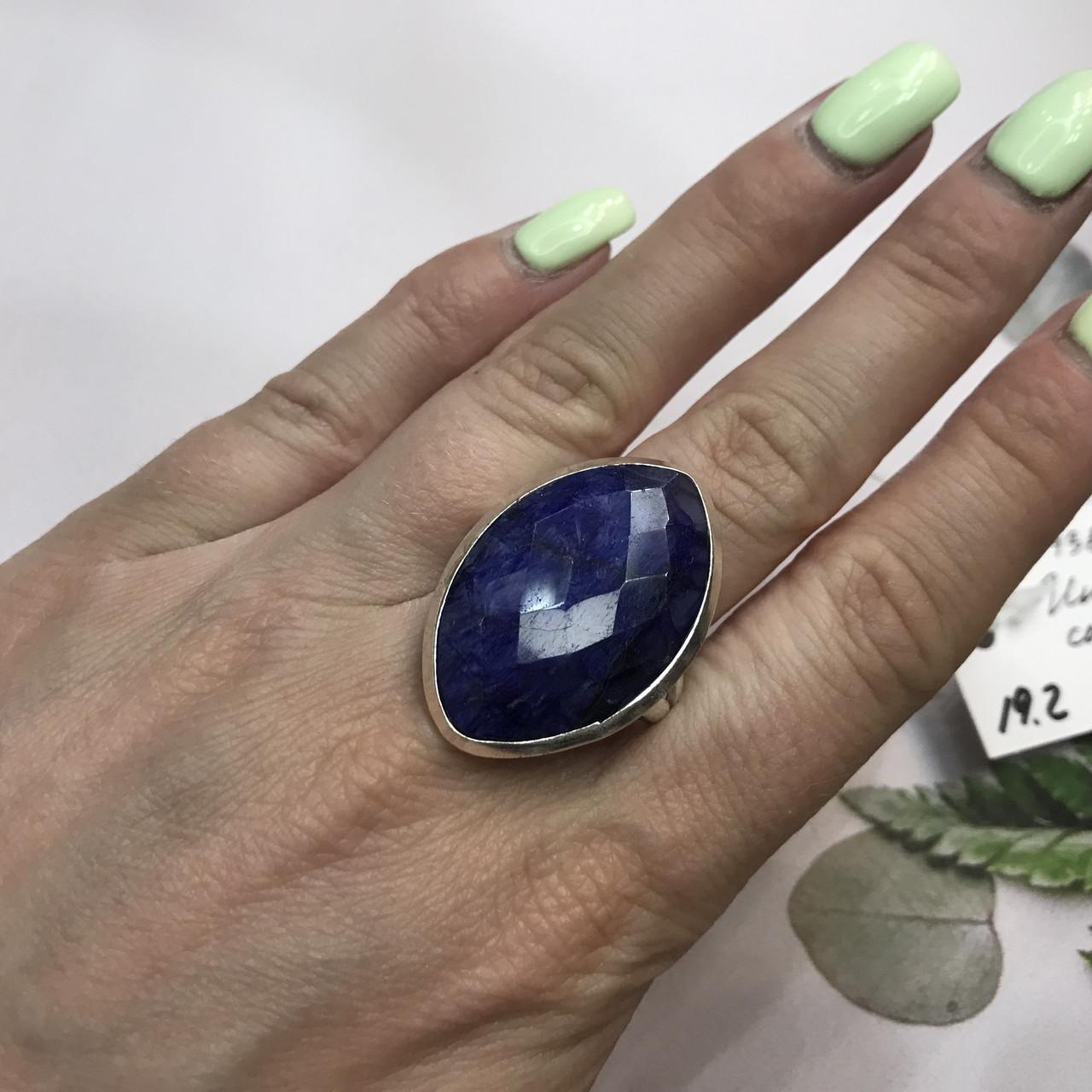 Сапфір кільце Маркіз 19,2 розмір кільце з каменем індійський натуральний сапфір в сріблі кільце з сапфіром.