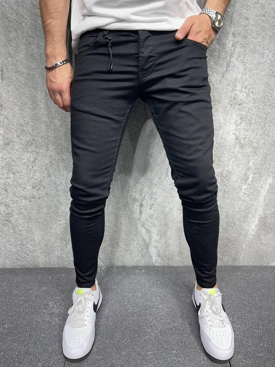 Мужские джинсы зауженные (черные) крутые повседневные A6436