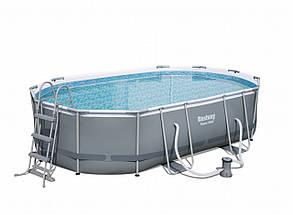 Каркасный овальный бассейн 488х305х107 см Bestway 56448 с фильтром, Большой для дачи и всей семьи Power Steel, фото 2