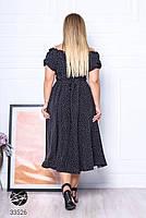 Чорне штапельне плаття міді з принтом з 48 по 64 розмір, фото 3