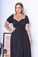 Чорне штапельне плаття міді з принтом з 48 по 64 розмір, фото 4