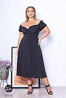 Чорне штапельне плаття міді з принтом з 48 по 64 розмір, фото 5