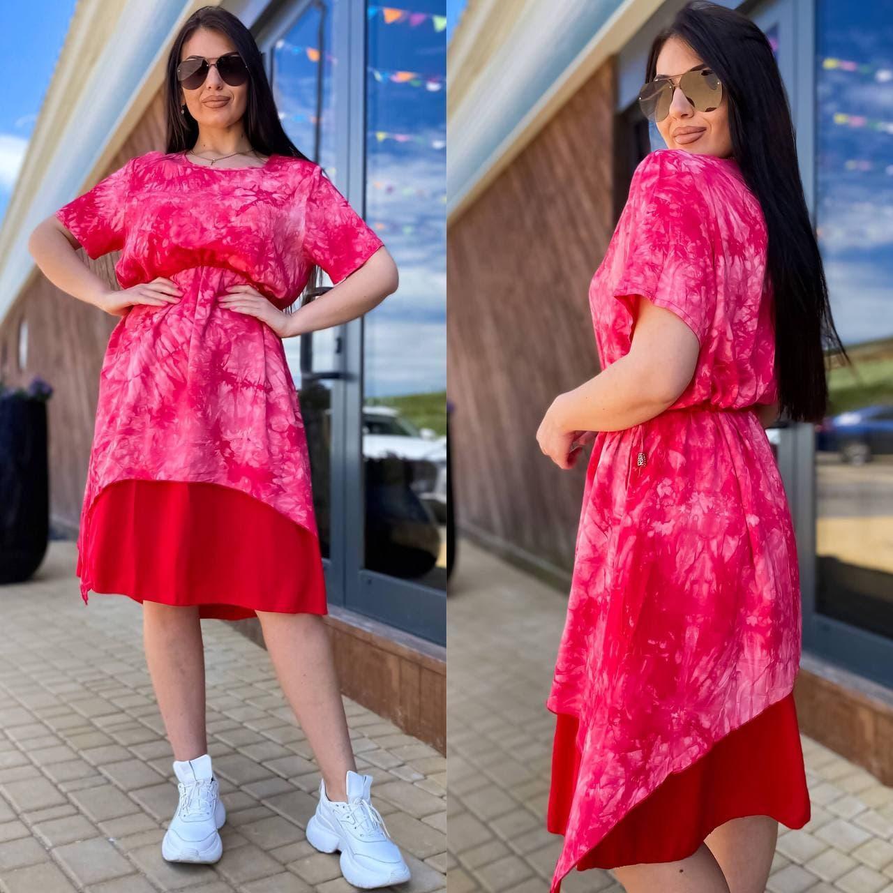 Жіноче літнє плаття сарафан тканина штапель короткий рукав розмір: 50-52,54-56