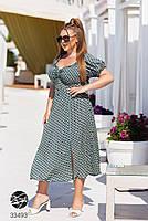 Яркое летнее платье с абстрактным принтом с 48 по 64 размер, фото 3