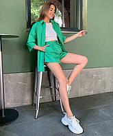 Летний женский повседневный костюм с рубашкой и шортами, фото 1