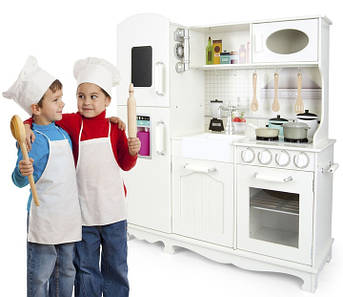 Большая детская деревянная кухня белая 102 см