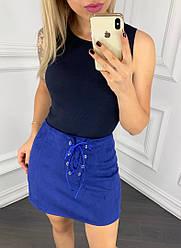 Женская замшевая юбка-трапеция со шнуровкой