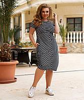 Летнее приталенное  платье с абстрактным принтом больших размеров, фото 1