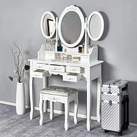 Туалетный столик современный косметический на 3 зеркала гримерный трюмо для спальни будуарный макияжный столик
