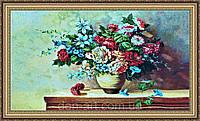 Картина гобеленовая Букет цветов 400x800мм. (В багетной рамке) №G334