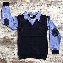 Рубашка для мальчика обманка р. 6-14 лет опт