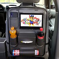 Автомобильный органайзер на спинку сиденья из экокожи. Органайзер для авто в машину RG 6 отделений черный