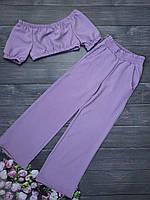 Шикарный костюм топ + кюлоты ткань легкая лен жатка 128-140 рост