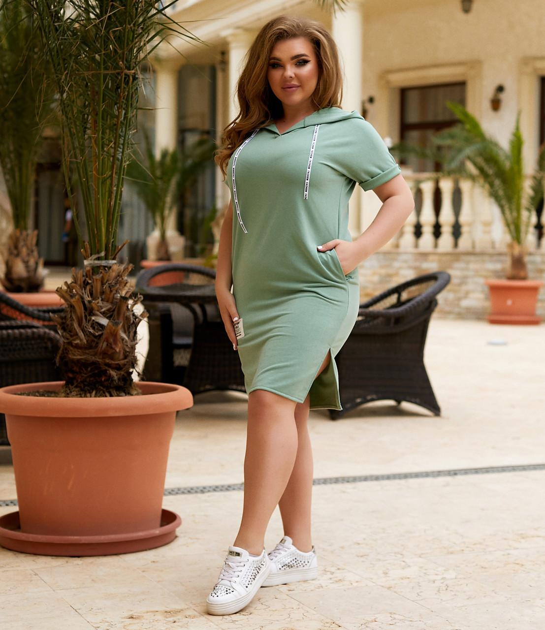 Спортивное летнее платье с капюшоном большого размера