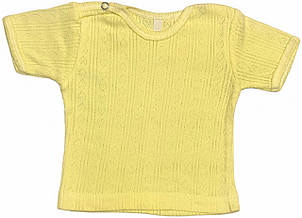 Дитяча футболка для новонароджених зростання 56 0-2 міс на хлопчика дівчинку однотонна ажурна трикотажна жовта