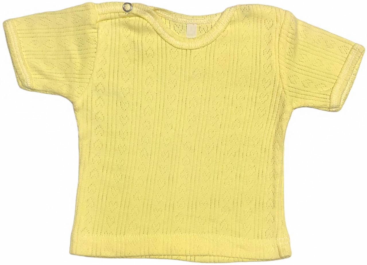 Дитяча футболка для новонароджених ріст 80 9-12 міс на хлопчика дівчинку однотонна ажурна трикотажна жовта