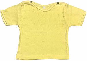 Дитяча футболка для новонароджених зростання 62 2-3 міс на хлопчика дівчинку однотонна ажурна трикотажна жовта
