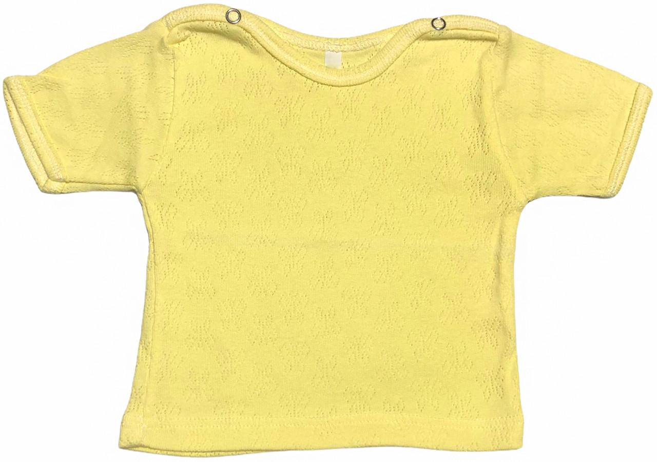 Детская футболка для новорожденных рост 80 9-12 мес на мальчика девочку однотонная ажурная трикотажная жёлтая