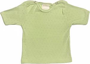 Дитяча футболка для новонароджених ріст 68 3-6 міс на хлопчика дівчинку однотонна ажурна трикотаж білий