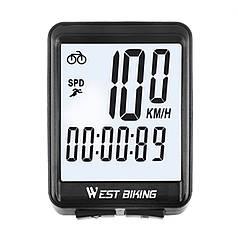 Велокомп'ютер провідний West Biking 0702054 екран з підсвічуванням спідометр годинник