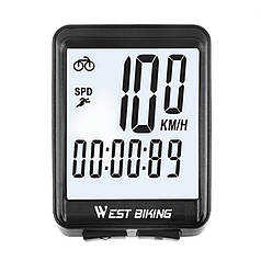 Велокомп'ютер бездротовий West Biking 0702054 екран з підсвічуванням спідометр годинник