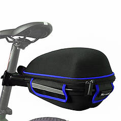 Вело багажник під сідло West Biking 0707151 Black + Blue з відбивачами + чохол
