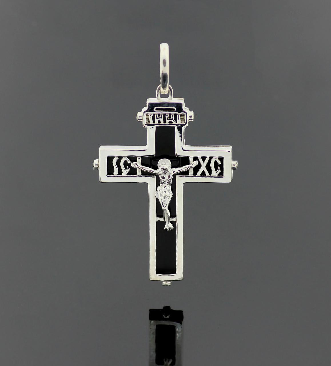 Серебряный православный крестик Оникс. Вес 8,39 гр. 925 проба