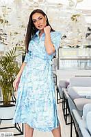 Легке шовкове плаття на запах по коліно ошатне коктейльне великих розмірів р-ри 48-58 арт. 1044