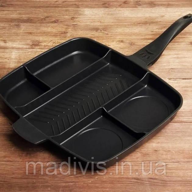 Универсальна сковородка из нержавеющей стали Magic Pan 5 в 1 Сковорода на 5 отделений