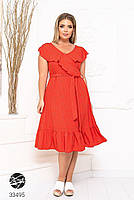 Елегантне жіноче плаття на запах з оздобленням оборками з 48 до 54 розмір, фото 5