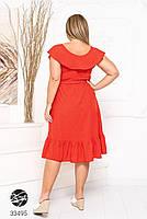 Елегантне жіноче плаття на запах з оздобленням оборками з 48 до 54 розмір, фото 10