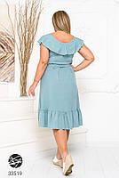 Елегантне жіноче плаття на запах з оздобленням оборками з 48 до 54 розмір, фото 7