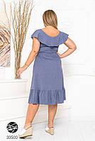 Елегантне жіноче плаття на запах з оздобленням оборками з 48 до 54 розмір, фото 4