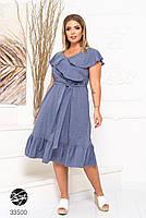 Елегантне жіноче плаття на запах з оздобленням оборками з 48 до 54 розмір, фото 6