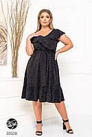 Елегантне жіноче плаття на запах з оздобленням оборками з 48 до 54 розмір, фото 2