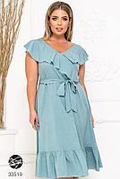 Елегантне жіноче плаття на запах з оздобленням оборками з 48 до 54 розмір, фото 3