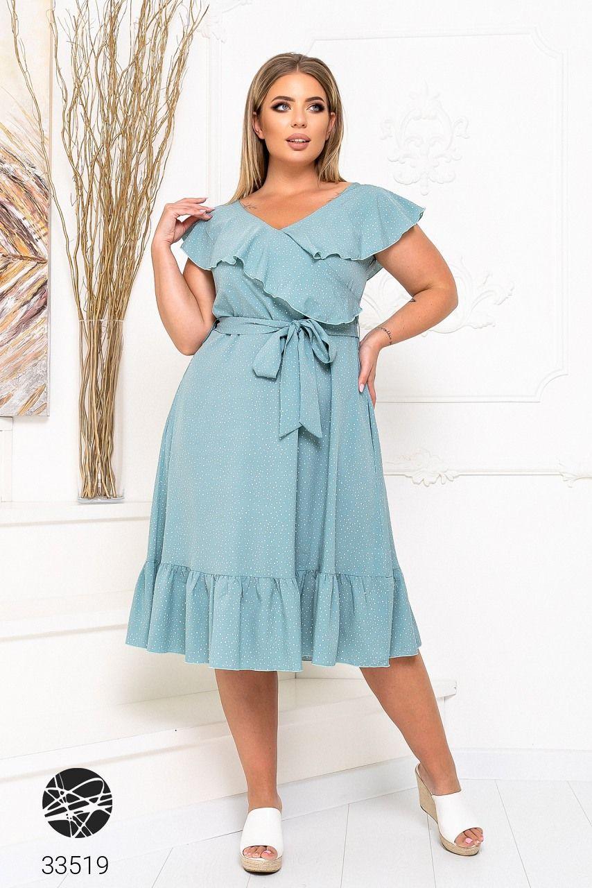 Елегантне жіноче плаття на запах з оздобленням оборками з 48 до 54 розмір