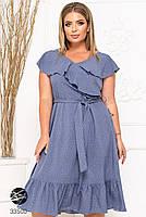 Елегантне жіноче плаття на запах з оздобленням оборками з 48 до 54 розмір, фото 9