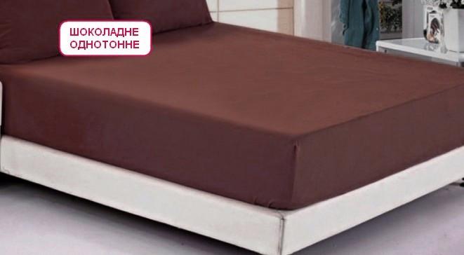 Двоспальне простирадло на резинці - Шоколадне однотонне