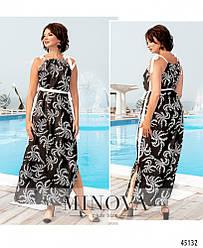 Нежное шелковое летнее черное платье в пол большого размера. Размер: 46-48, 50-52, 54-56, 58-60, 62-64, 66-68